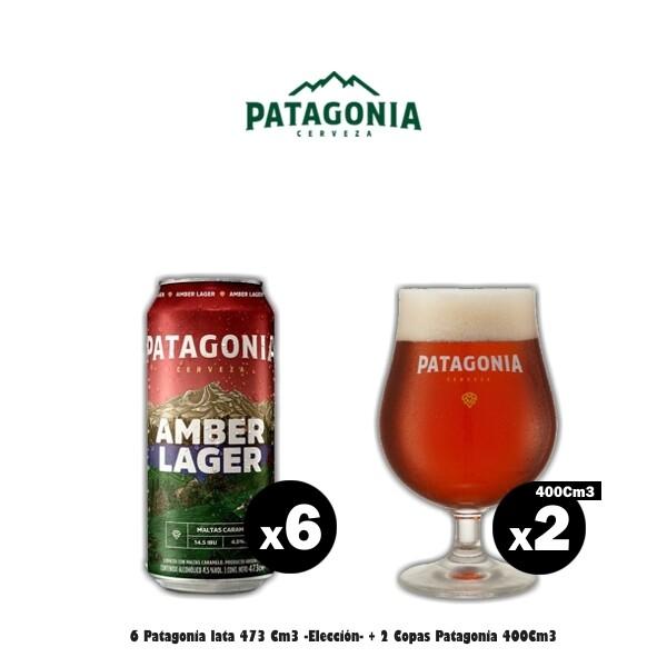 6 Latas Patagonia + 2 Copas Tulipa 400Cm3