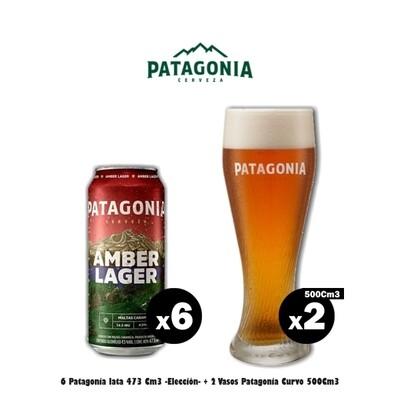 6 Latas Patagonia + 2 Vasos Curvo 500Cm3