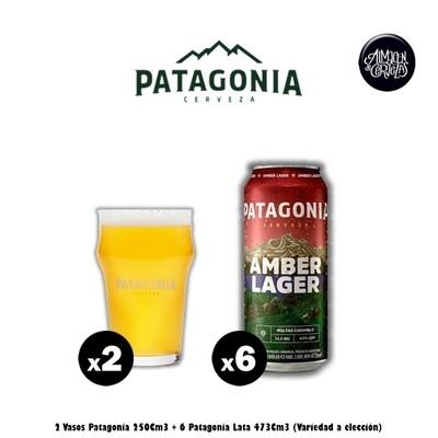 6 Latas Patagonia + 2 Vasos Patagonia 250Cm3