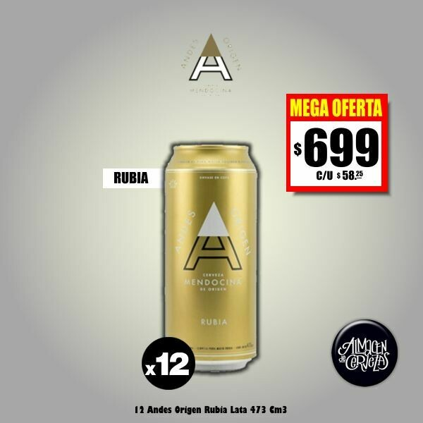 MEGA OFERTA - 12 Andes Origen Rubia Lata 473 Cm3