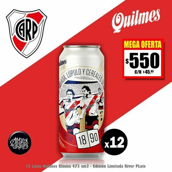 MEGA OFERTA -12 Lata Quilmes Clásica RIVER 473Cm3