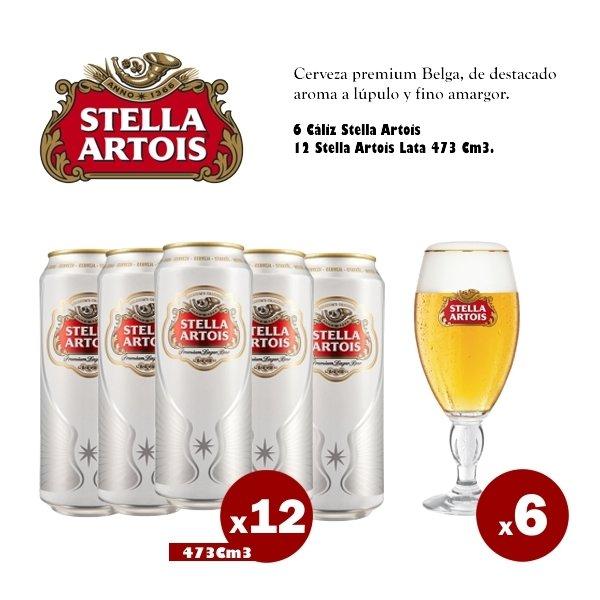 6 Cáliz Stella + 12 Latas 473Cm3