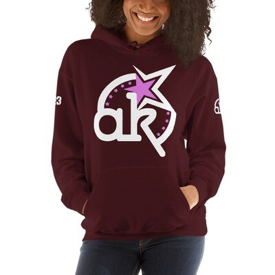 23 AKSA LOGO Mrn HOODED SWEATSHIRT L