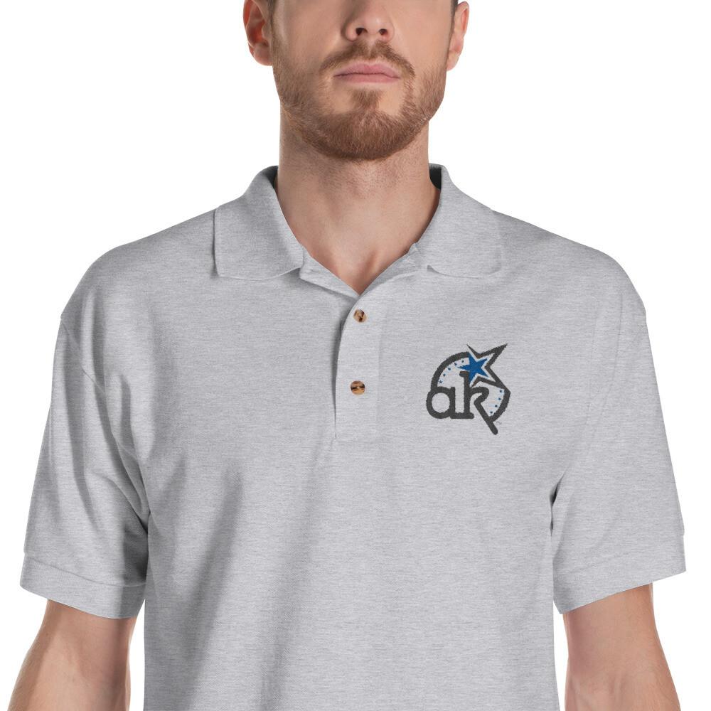AKStar Logo Grey Embroidered Polo Shirt