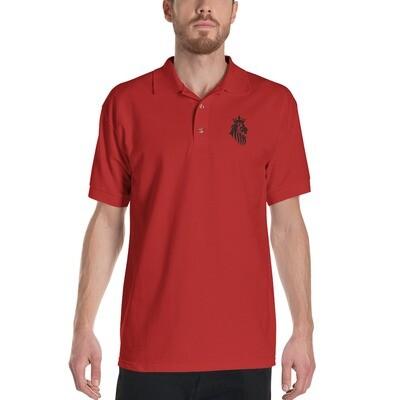 KO King Lion Red Embroidered Polo Shirt