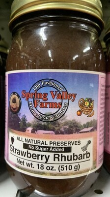 Spring Valley Farms No Sugar Added Fruit Juice Sweetened Strawberry Rhubarb Preserves19oz