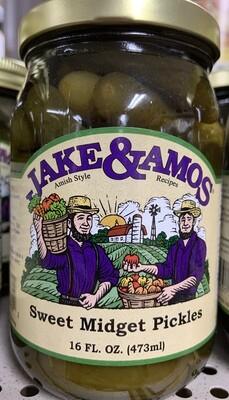 Jake & Amos Sweet Midget Pickles 16 oz