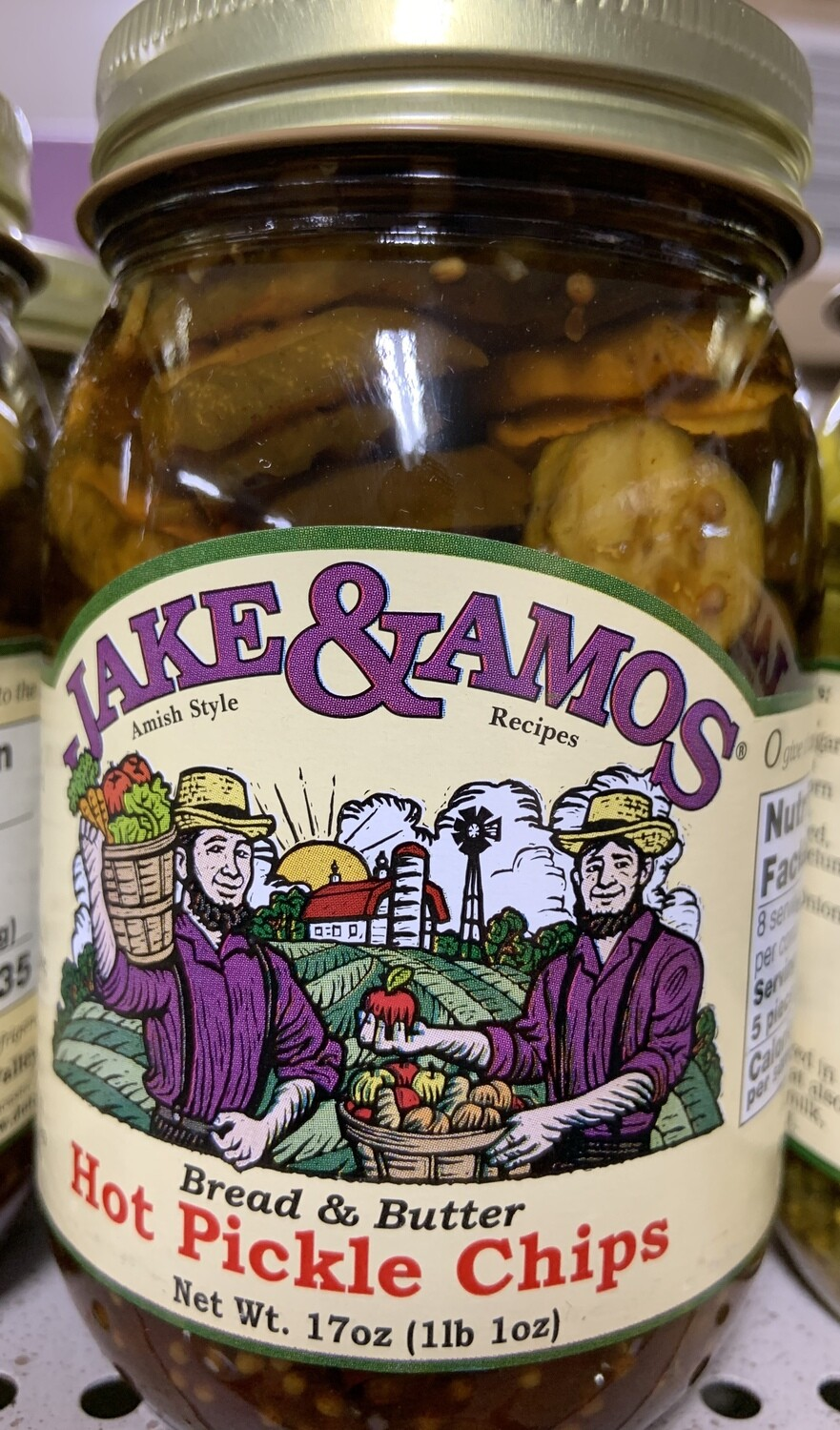 Jake & Amos Bread & Butter Hot Pickle Chips 16 oz