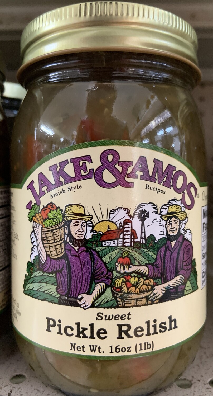 Jake & Amos Sweet Pickle Relish 16 oz