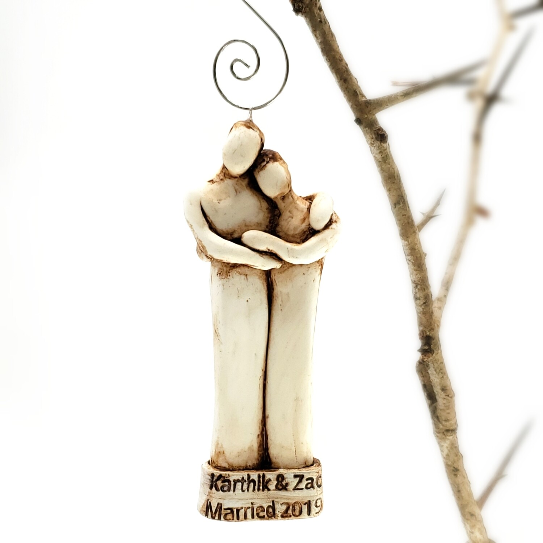 Two Married Men Wedding Ornament, LGBTQ Custom Text