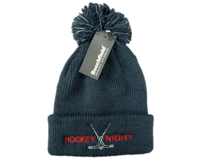 Navy Reflective Pom Hat  - HOCKEY