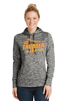 LADIES Sport-Tek® PosiCharge®Electric Heather Fleece Hooded Pullover
