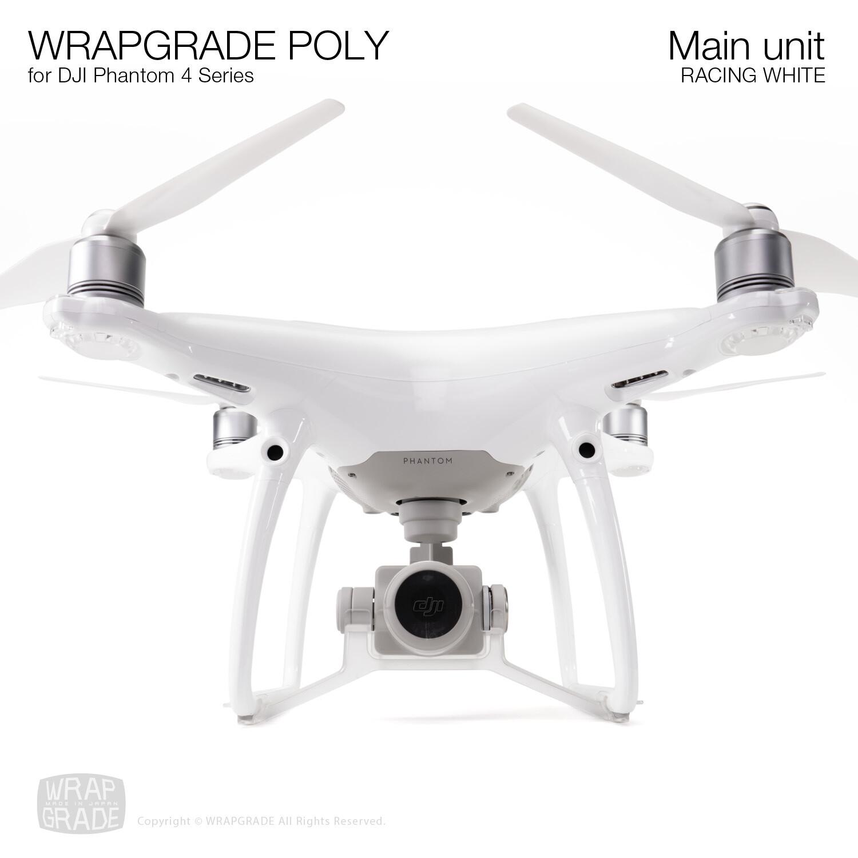 Wrapgrade Poly Skin for DJI Phantom 4 | Main unit (RACING WHITE)