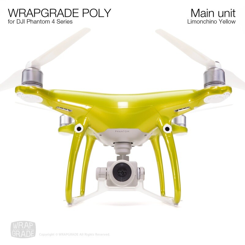 Wrapgrade Poly Skin for DJI Phantom 4 | Main unit (LIMIONCINO YELLOW)