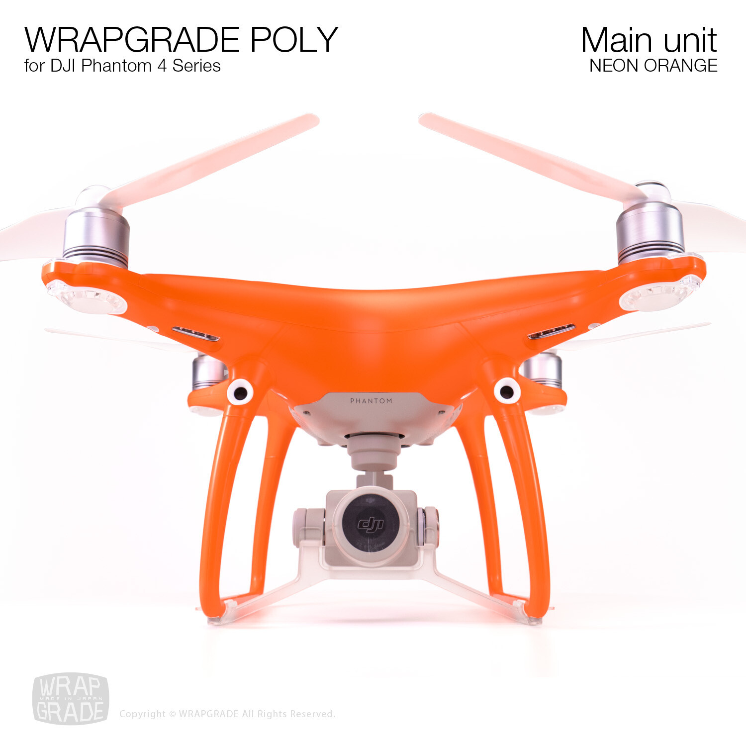 Wrapgrade Poly Skin for DJI Phantom 4 | Main unit (NEON ORANGE)