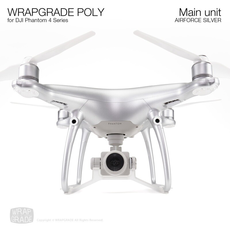 Wrapgrade Poly Skin for DJI Phantom 4 | Main unit (AIRFORCE SILVER)
