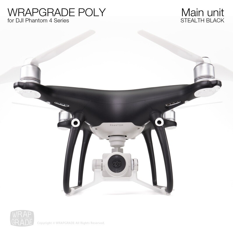 Wrapgrade Poly Skin for DJI Phantom 4 | Main unit (STEALTH BLACK)