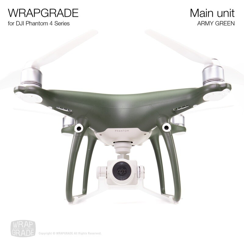 Wrapgrade Poly Skin for DJI Phantom 4 | Main unit (ARMY GREEN)