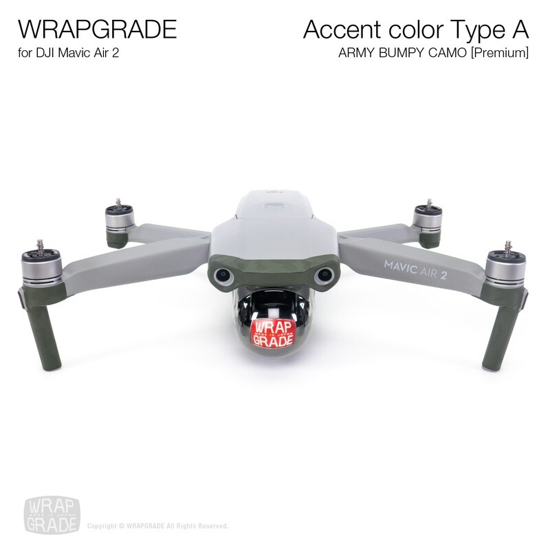 Wrapgrade for DJI Mavic Air 2 | Accent Color A (ARMY BUMPY CAMO)