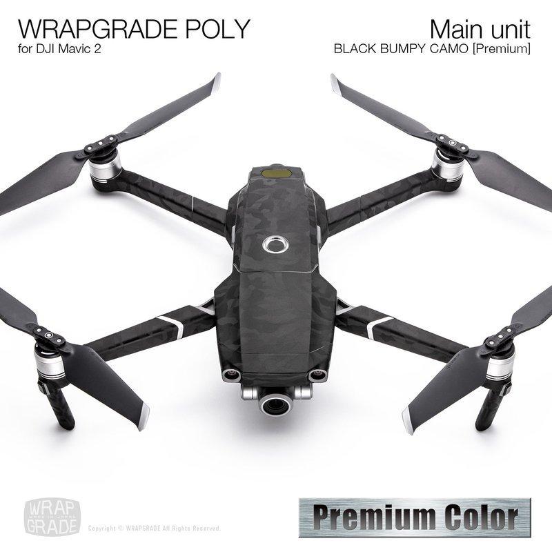 Wrapgrade Poly Skin for DJI Mavic 2 | Main unit (BLACK BUMPY CAMO)