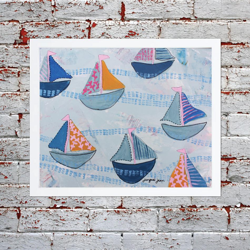 Bright Pink and Blue Sailboats