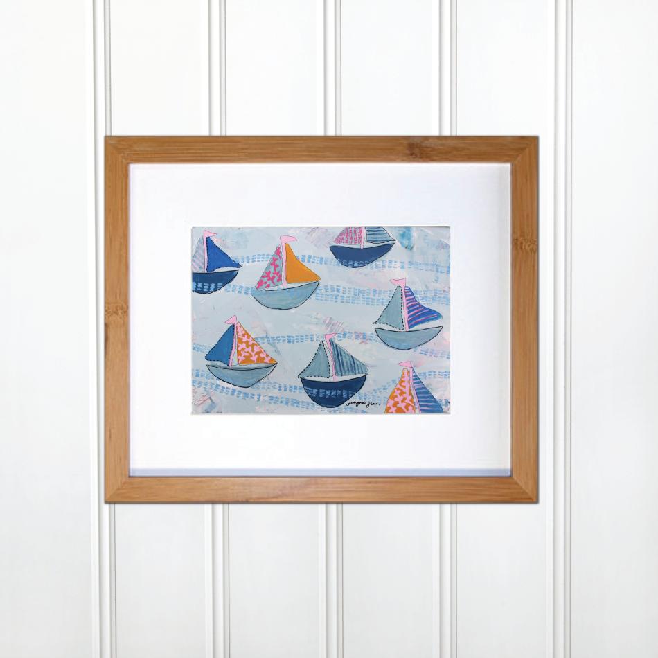 Bright Pink and Blue Sailboats 00067