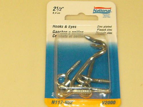 """National Hooks & Eyes 2-1/2"""" Zinc"""