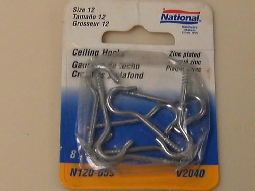 National Ceiling Hooks & Eyes Size 12 Zinc