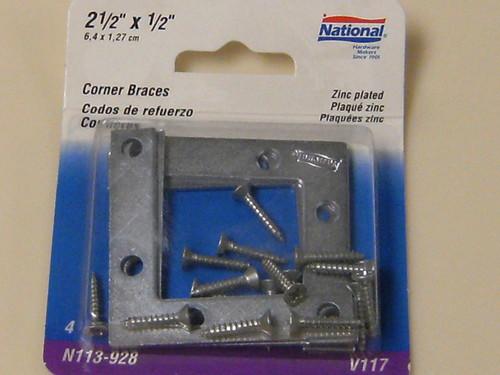 """National 2-1/2"""" by 1/2"""" Corner Braces N113-928"""