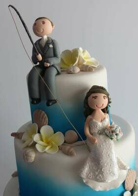 Sitting Bride & Groom with fishing rod