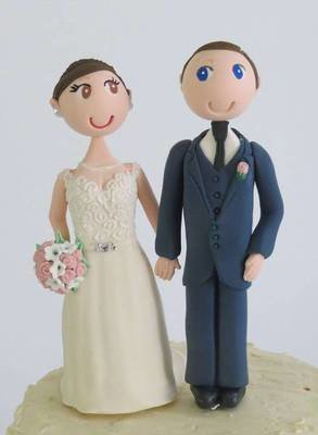 Sample Bride & Groom on round base board