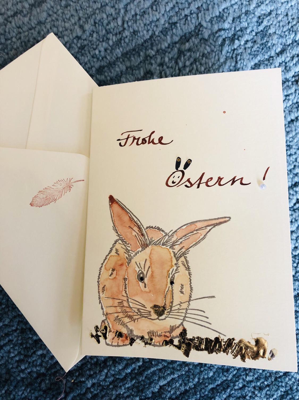 """Karte """"handmade"""" Ostern Hase"""