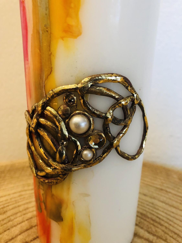 Kerze Encaustic Gelb/Rottöne mit Goldrelief, Perlen und Swarovskikristallen