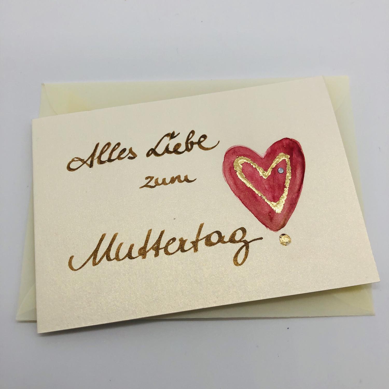 """Billett """"handmade"""" klein - Alles Liebe zum Muttertag!"""