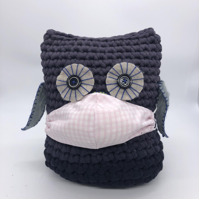MNS (Mund-Nasen-Schutz Maske) - rosa/weiß kariert