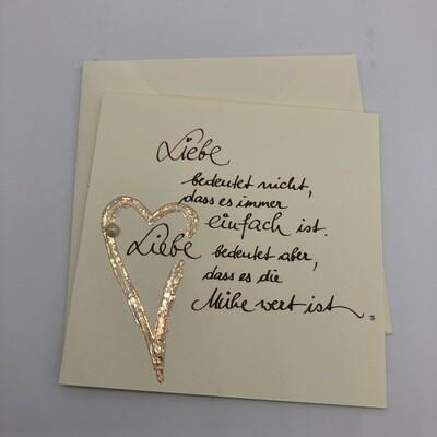 """Billett """"handmade"""" Liebe - Spruch"""