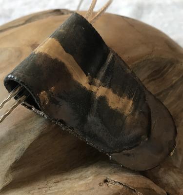 Anhänger Keramik braun-metallic/gold