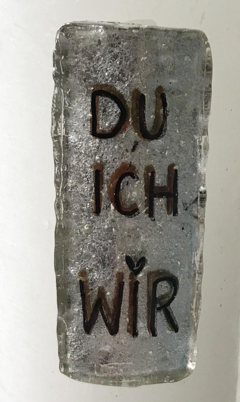 Kerze mit Platte DU/ICH/WIR