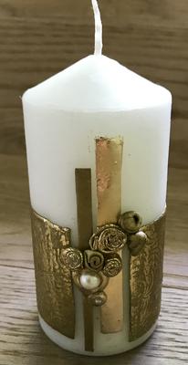 Kerze weiß/gold mit Perle