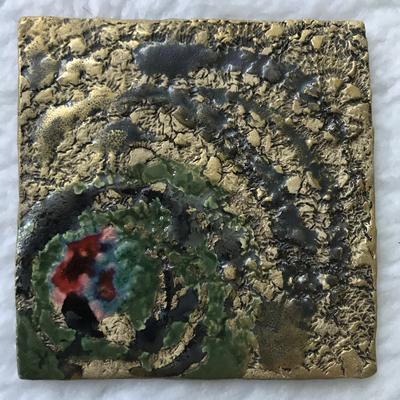Kerzenteller bunt/Braunstein/gold