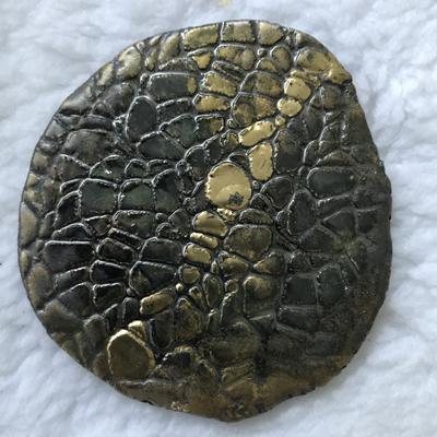 Kerzenteller rund braun/gold