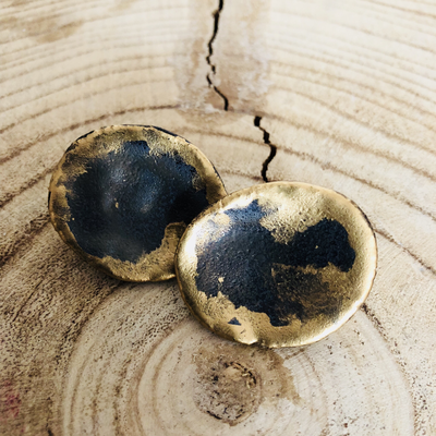 Ohrclips Keramik - glasiert mit Golddetails