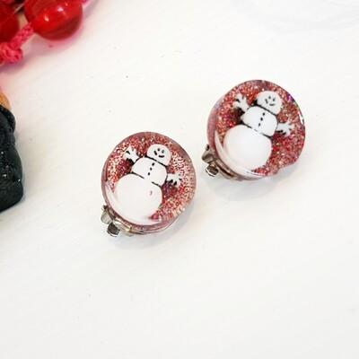 Snowman Christmas CLIP ON Earrings