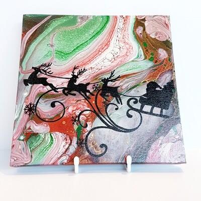 Santa's Sleigh Silhouette Painting