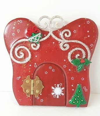 Christmas Wooden Fairy Door