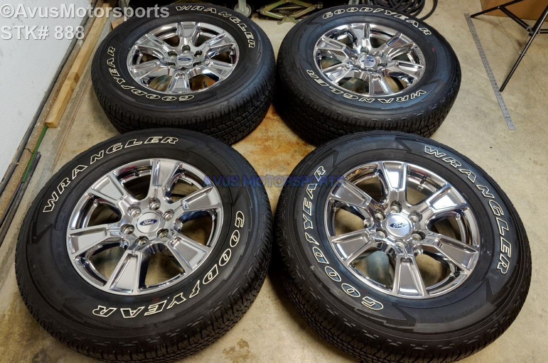 "18"" Ford F150 OEM Wheels Factory Chrome pvd Lariat Goodyear 275/65r18 Tires 2015 FL34-1007-BA"