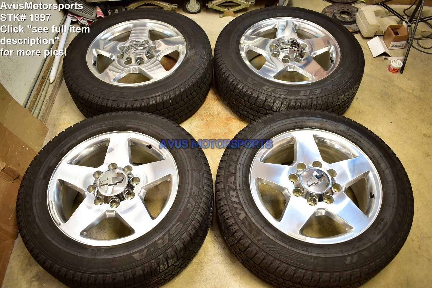 "20"" Chevy Silverado GMC Sierra 2500 3500 OEM Polish WHEELS TIRES 2013 2014 2015"