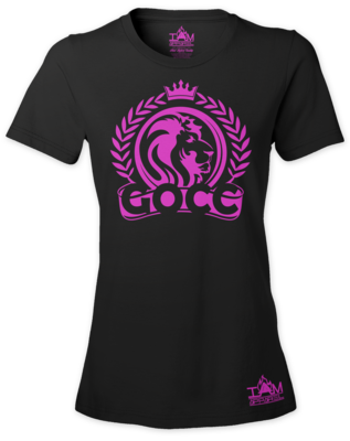 GOCC Lion Woman's  Short Sleeved T-shirt Hot Pink