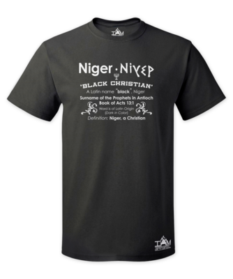 Men's Short Sleeved Niger Acts13:1 Black T-Shirt