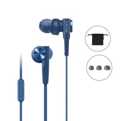 Sony MDR-XB55AP in-Ear Extra Bass Headphones with Mic , Blue